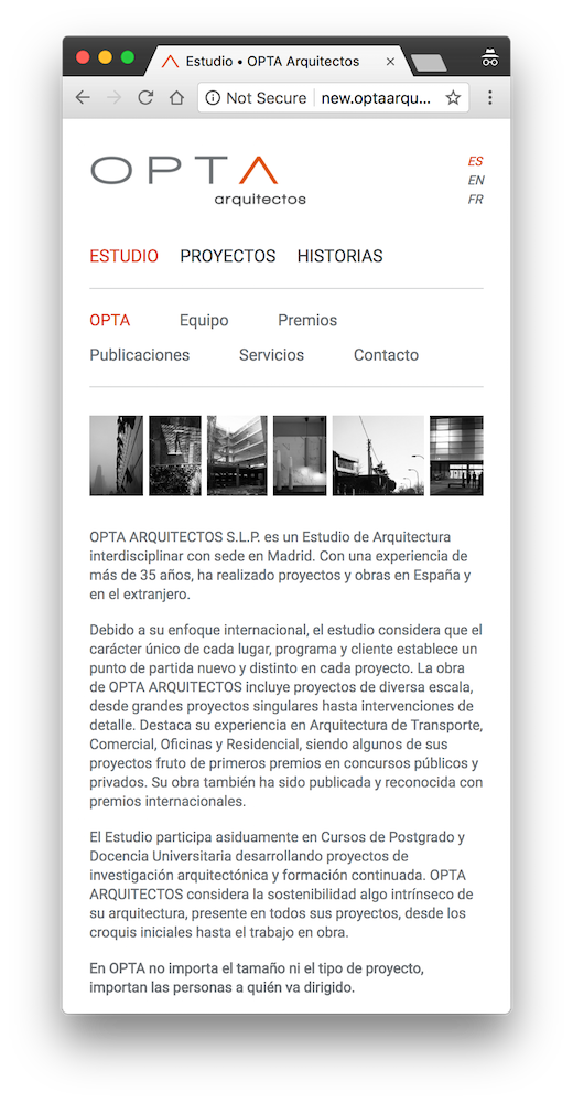 screenshot optaarquitectos.com desktop