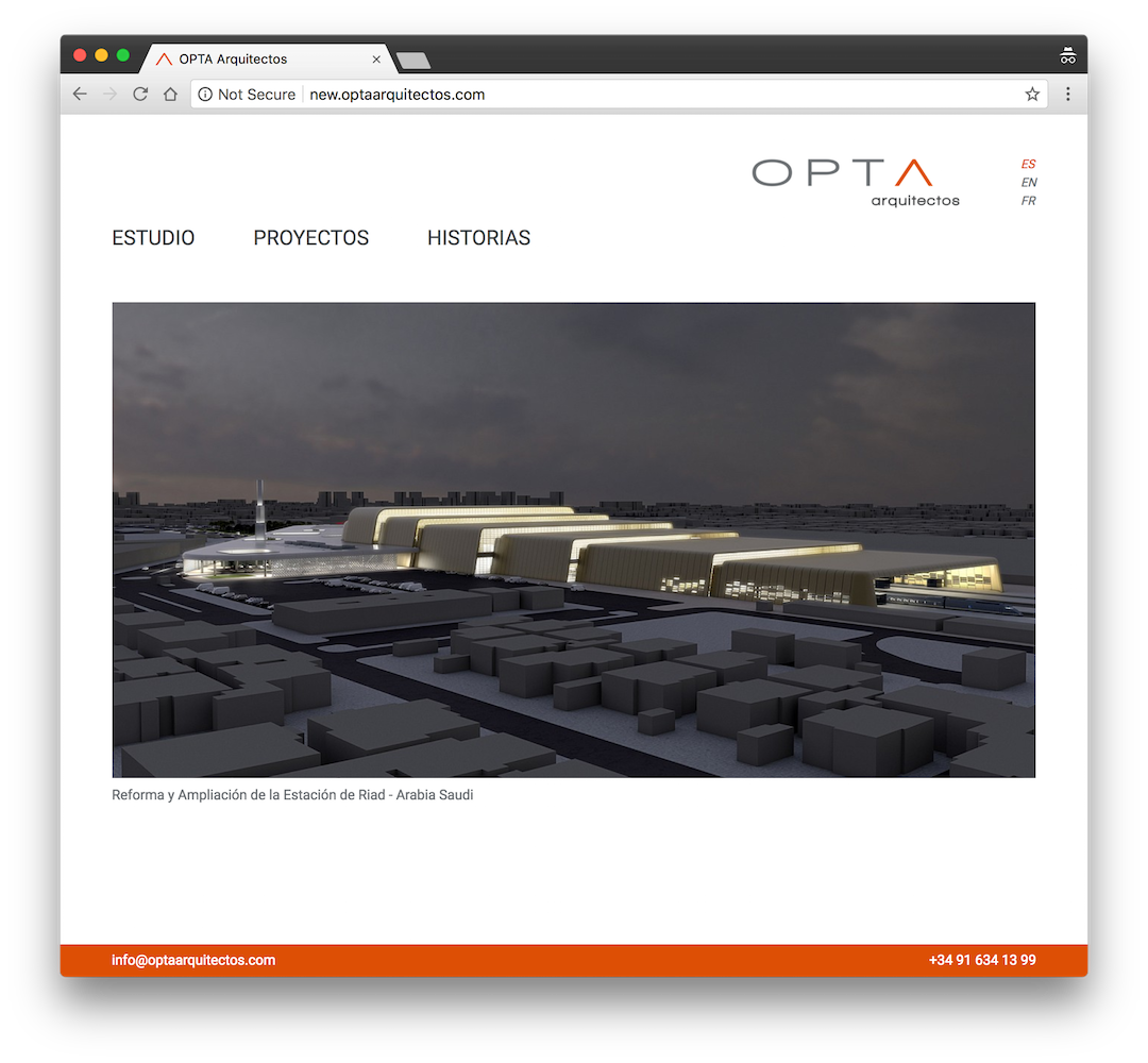 screenshot optaarquitectos.com tablet